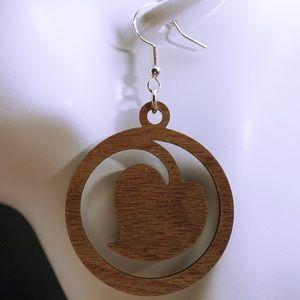 Leaf walnut wood laser cut drop earrings style 31